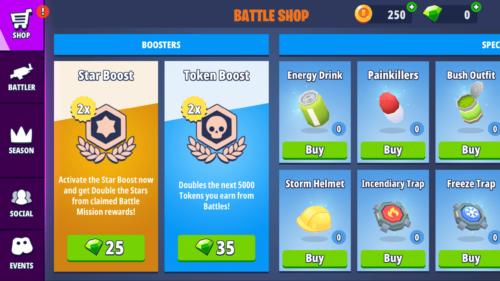 Boosters screenshot of Battlelands Royale video game interface.