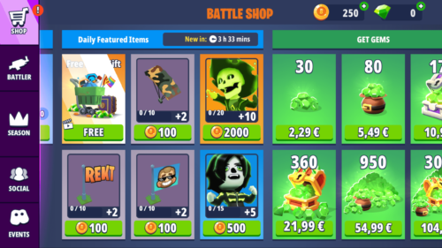 Daily Featured Items screenshot of Battlelands Royale video game interface.