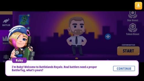 Dialogue screenshot of Battlelands Royale video game interface.