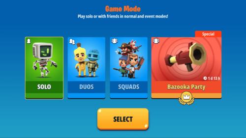 Game mode screenshot of Battlelands Royale video game interface.