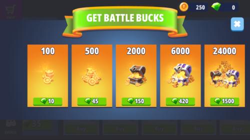 Get battle bucks screenshot of Battlelands Royale video game interface.