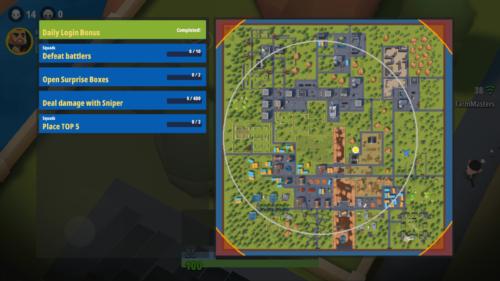 Map screenshot of Battlelands Royale video game interface.