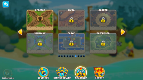 Advanced maps screenshot of Bloons TD 6 video game interface.