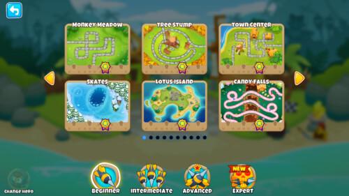 Beginner maps screenshot of Bloons TD 6 video game interface.