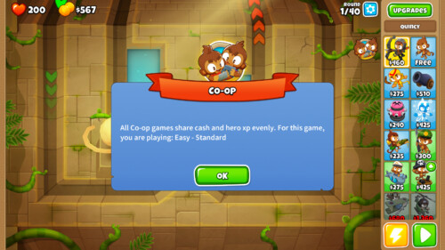 Co-op notification screenshot of Bloons TD 6 video game interface.