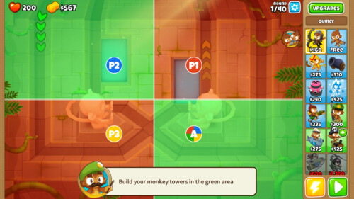 Co-op quadrants screenshot of Bloons TD 6 video game interface.