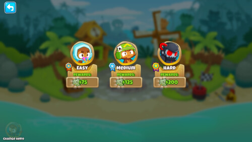 Difficulty screenshot of Bloons TD 6 video game interface.