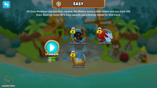 Easy screenshot of Bloons TD 6 video game interface.