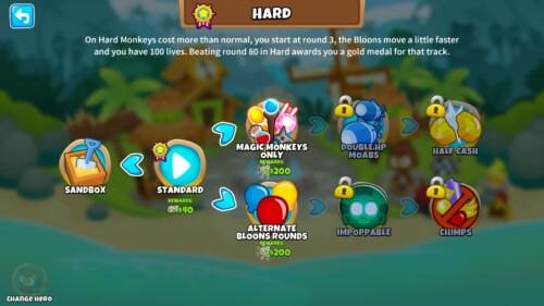 Hard screenshot of Bloons TD 6 video game interface.