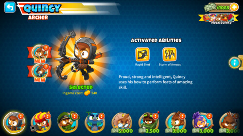 Hero activated abilities screenshot of Bloons TD 6 video game interface.