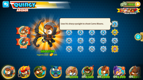 Hero levelling screenshot of Bloons TD 6 video game interface.