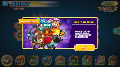 Hero mega bundle screenshot of Bloons TD 6 video game interface.