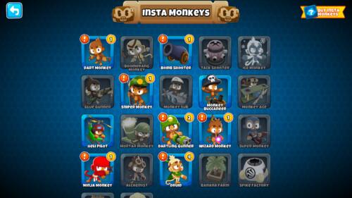 Insta monkeys screenshot of Bloons TD 6 video game interface.