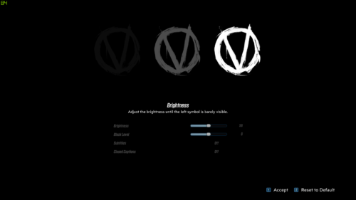 Brightness screenshot of Borderlands 3 video game interface.