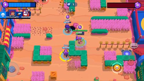 Battle screenshot of Brawl Stars video game interface.