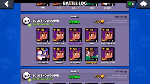 Battle log screenshot of Brawl Stars video game interface.