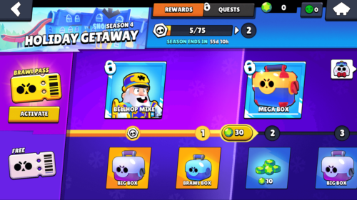 Brawl Pass screenshot of Brawl Stars video game interface.