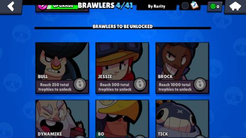 Brawlers to be unlocked screenshot of Brawl Stars video game interface.