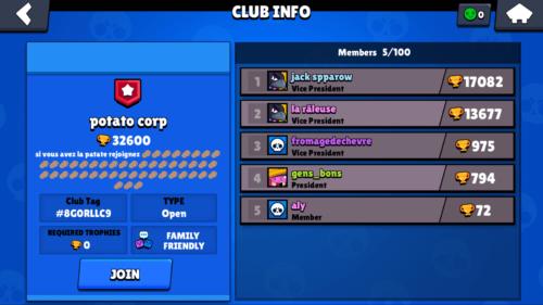 Club info screenshot of Brawl Stars video game interface.