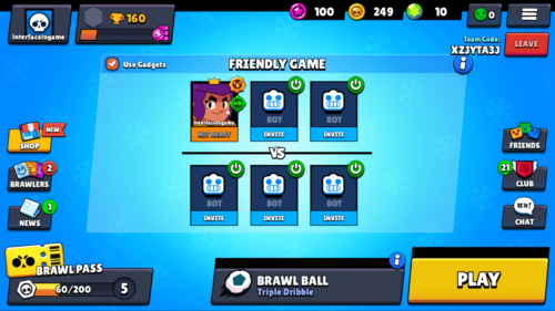 Friendly game screenshot of Brawl Stars video game interface.