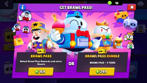 Get Brawl Pass screenshot of Brawl Stars video game interface.