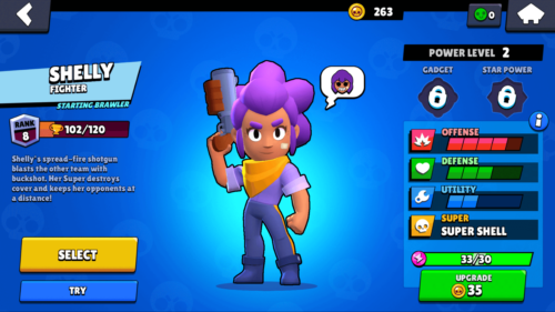 Select Brawler screenshot of Brawl Stars video game interface.