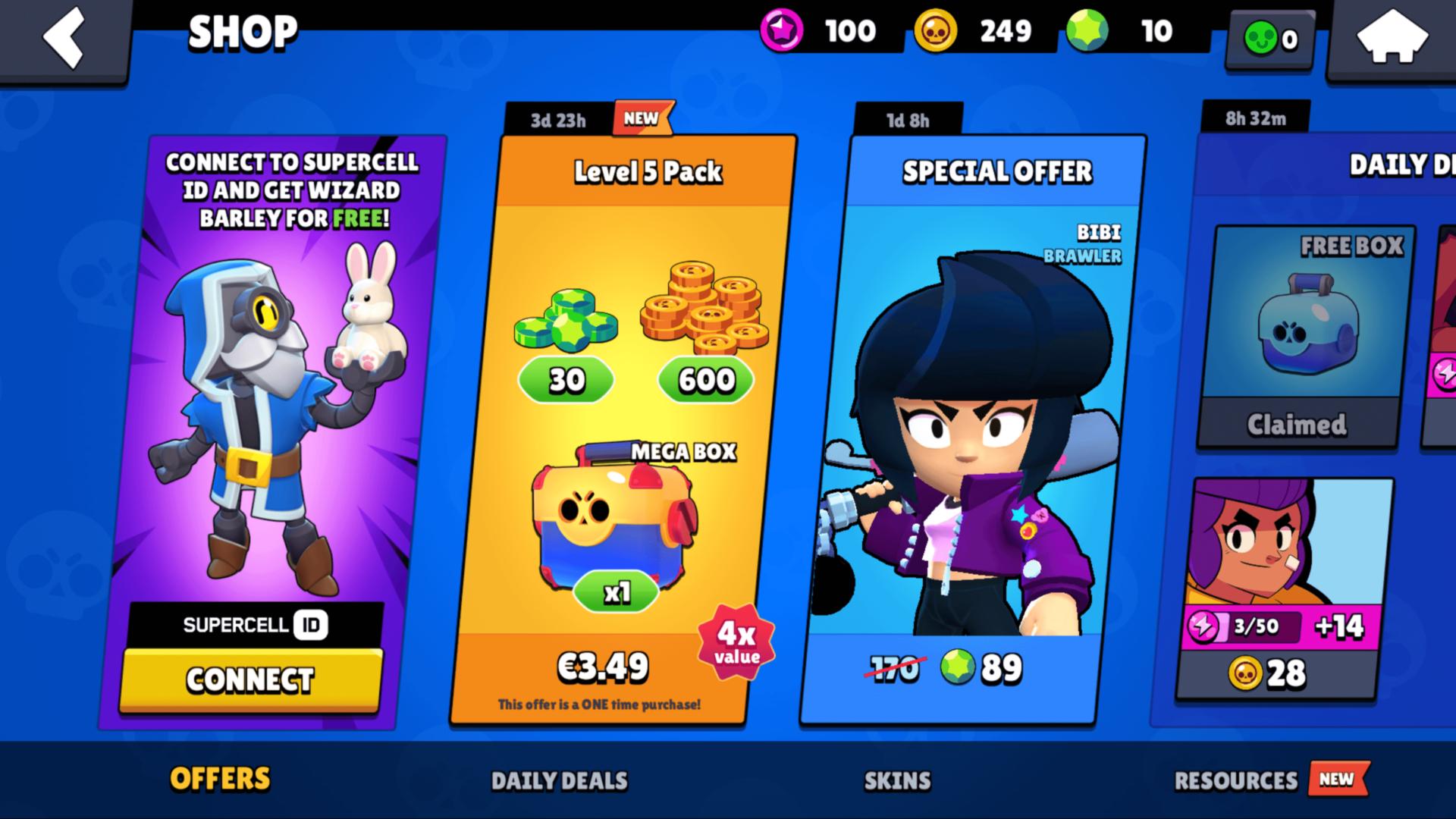 Shop screenshot of Brawl Stars video game interface.