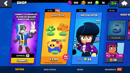 Shop screenshot of Brawl Stars video game interface.