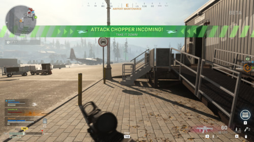 Attack chopper incoming screenshot of Call of Duty: Modern Warfare video game interface.
