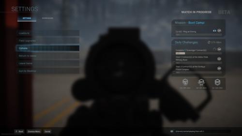 In game menu screenshot of Call of Duty: Modern Warfare video game interface.
