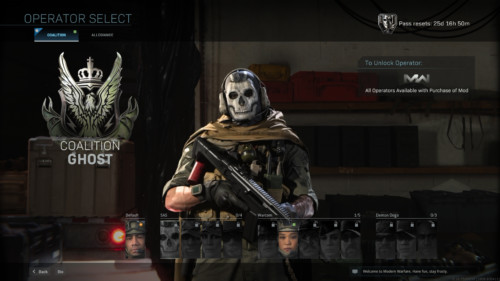 Operator select screenshot of Call of Duty: Modern Warfare video game interface.