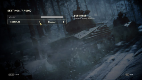 Audio screenshot of Call of Duty: WWII video game interface.
