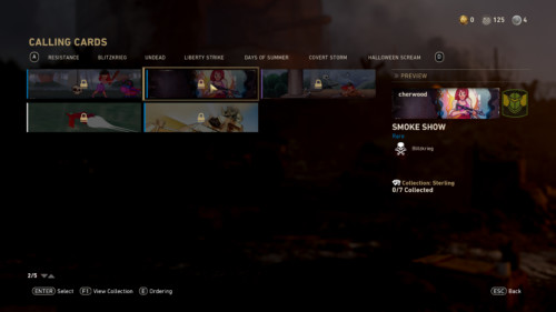 Calling cards screenshot of Call of Duty: WWII video game interface.