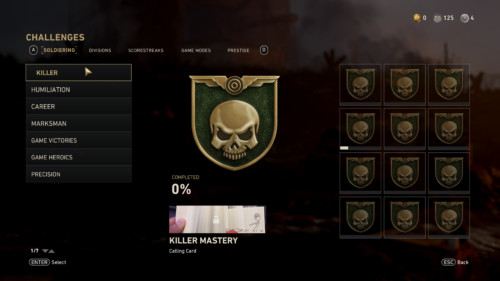 Challenges screenshot of Call of Duty: WWII video game interface.