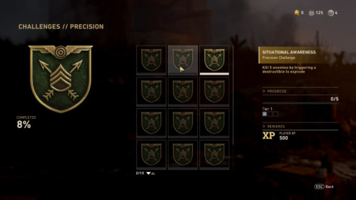 Challenges precision screenshot of Call of Duty: WWII video game interface.