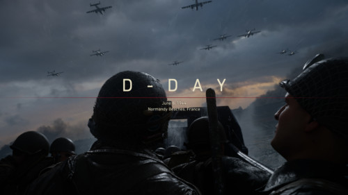 Chapter screenshot of Call of Duty: WWII video game interface.