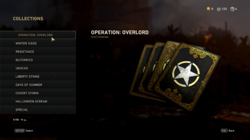 Collections screenshot of Call of Duty: WWII video game interface.