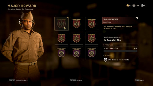 Complete orders screenshot of Call of Duty: WWII video game interface.