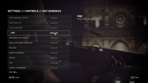 Controls screenshot of Call of Duty: WWII video game interface.