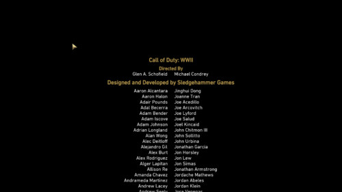 Credits screenshot of Call of Duty: WWII video game interface.
