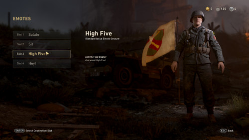 Emotes screenshot of Call of Duty: WWII video game interface.