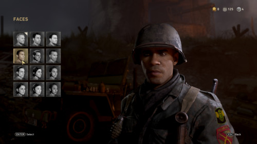 Faces screenshot of Call of Duty: WWII video game interface.