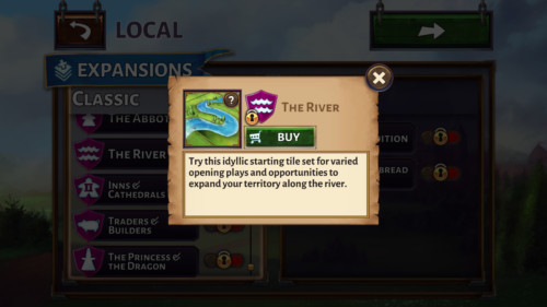 Buy river screenshot of Carcassonne Tiles and Tactics video game interface.