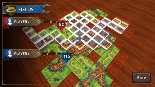Counting points screenshot of Carcassonne Tiles and Tactics video game interface.
