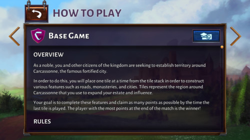 How to play screenshot of Carcassonne Tiles and Tactics video game interface.
