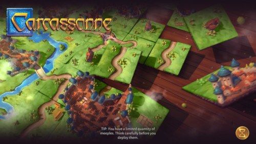 Loading screenshot of Carcassonne Tiles and Tactics video game interface.