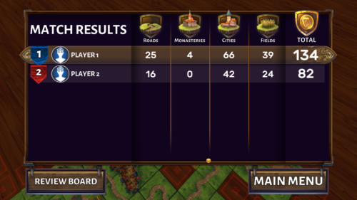 Match results screenshot of Carcassonne Tiles and Tactics video game interface.