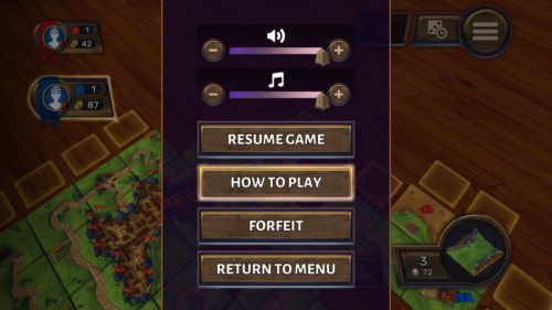 Paused screenshot of Carcassonne Tiles and Tactics video game interface.