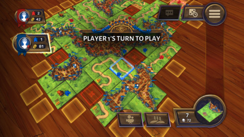 Player one's turn to play screenshot of Carcassonne Tiles and Tactics video game interface.