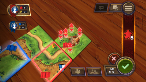 Putting meeples screenshot of Carcassonne Tiles and Tactics video game interface.
